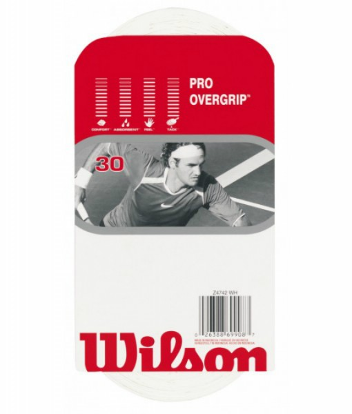 Wilson Pro Overgrip – White (Pack of 30 Grips)