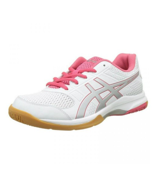 Asics Gel Rocket  Womens Silver White Court Shoes