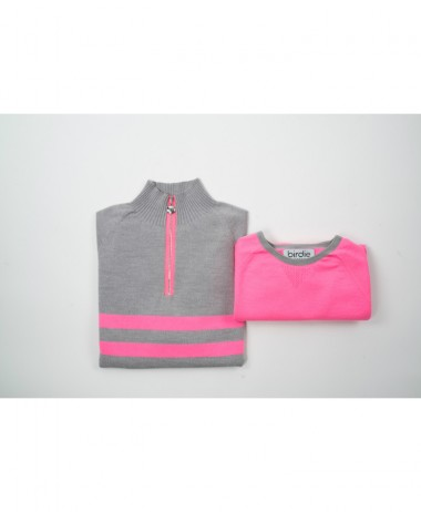 Birdie London Grey Pink Jumper
