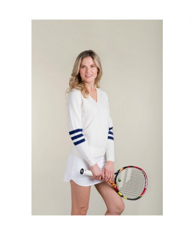 Birdie London White V Neck tennis