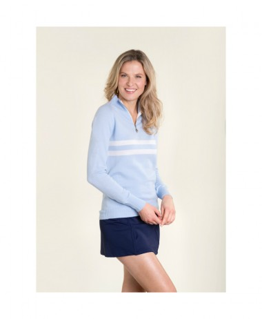 birdie London pale blue half zip jumper