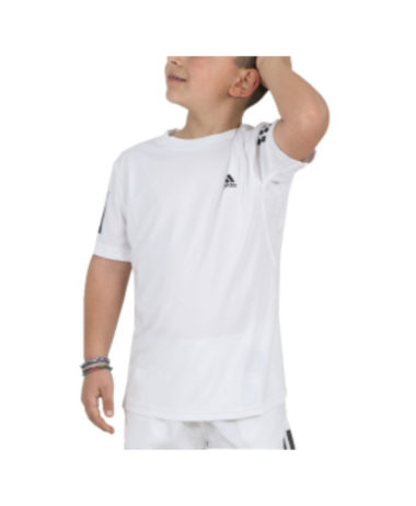 aDIDAS BOYS 3-STRIPE TENNIS TEE
