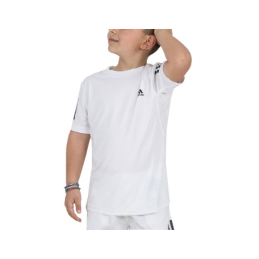 aDIDAS BOYS 3-STRIPE TENNIS TEE