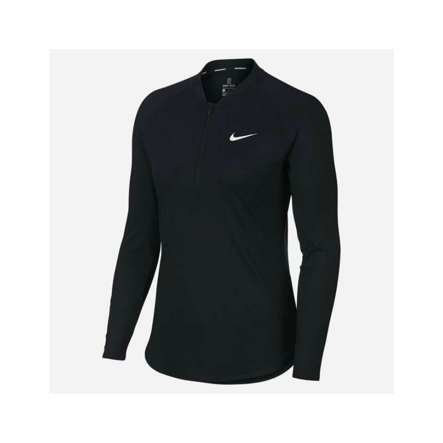 20c35427a892 NIKE LADIES NIKE COURT PURE LONG SLEEVE TENNIS TOP - Black - Pure ...