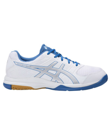 asics gel-rocket 8 mens indoor court shoe - white/blue
