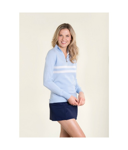 birdie London pale blue half zip jumper