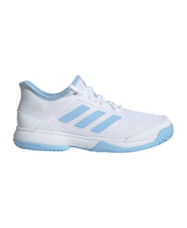 Adidas Adizero club junior tennis shoe - White/Glow Blue