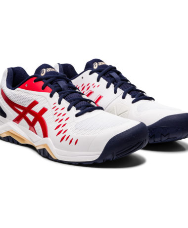 Asics mens Gel Challenger 12 Tennis Shoe- white/classic red