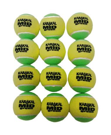 Karakal mid green junior tennis balls - 1 dozen