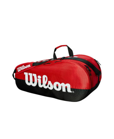 Wilson Team 2 Compartment x 6 racket Bag - Black/Red