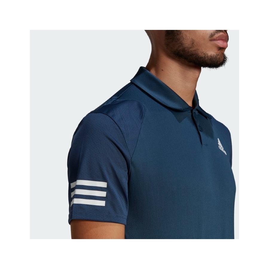 Adidas 3 Stripe Mens Tennis Polo - Crew Navy