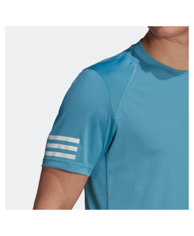 Adidas 3-Stripe Mens Tennis Tee 2021 - Hazy blue